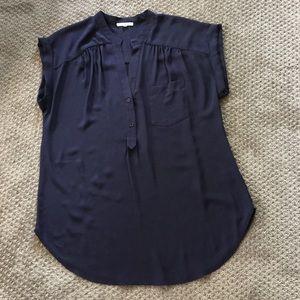 Silky navy blouse size Large